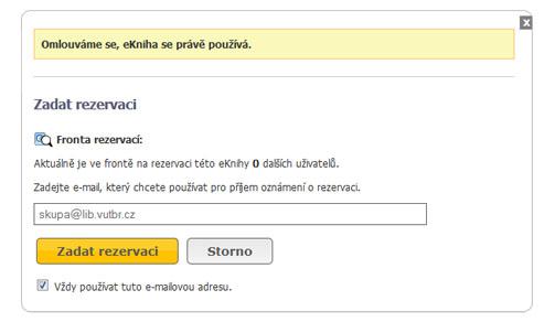 zadání požadavku na e-knihu